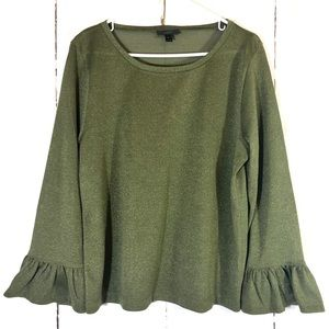 J Crew Olive Green Sparkle Bell Sleeve Top Size XL